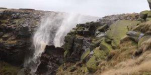 Derbyshire Waterfall Flows Upwards During Hurricane