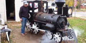 Dad Builds Train-Themed BBQ Smoker