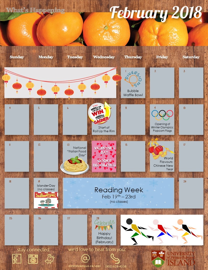February Residential Dining Calendar