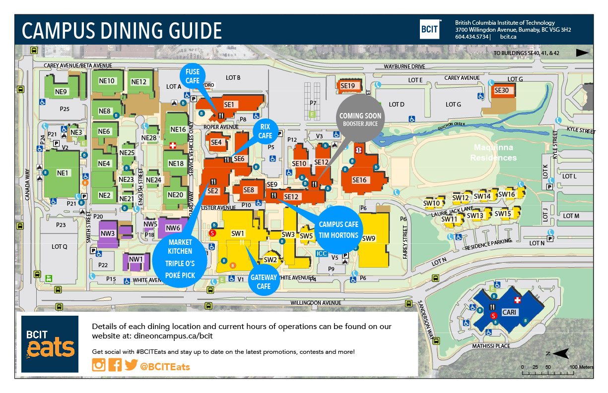 BCIT Dining Services Map