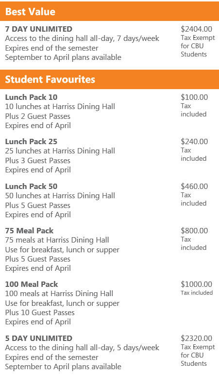 cbu commuter dining plans