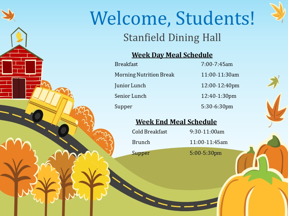 Dining Hall Meal Schedule