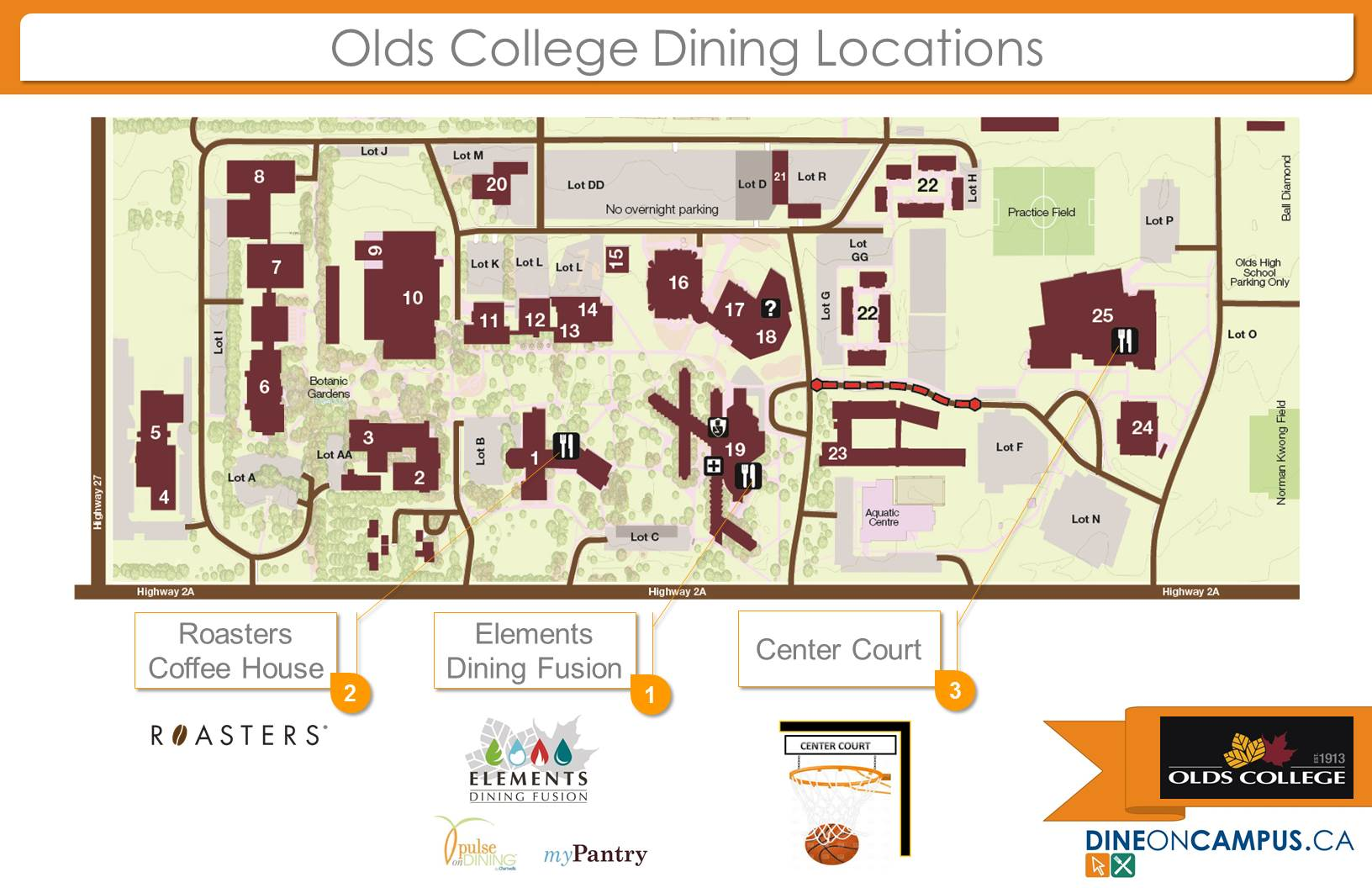 Olds Campus Dining Map