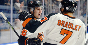 Medicine Hat Tigers forwards Max Gerlach and Matt Bradley