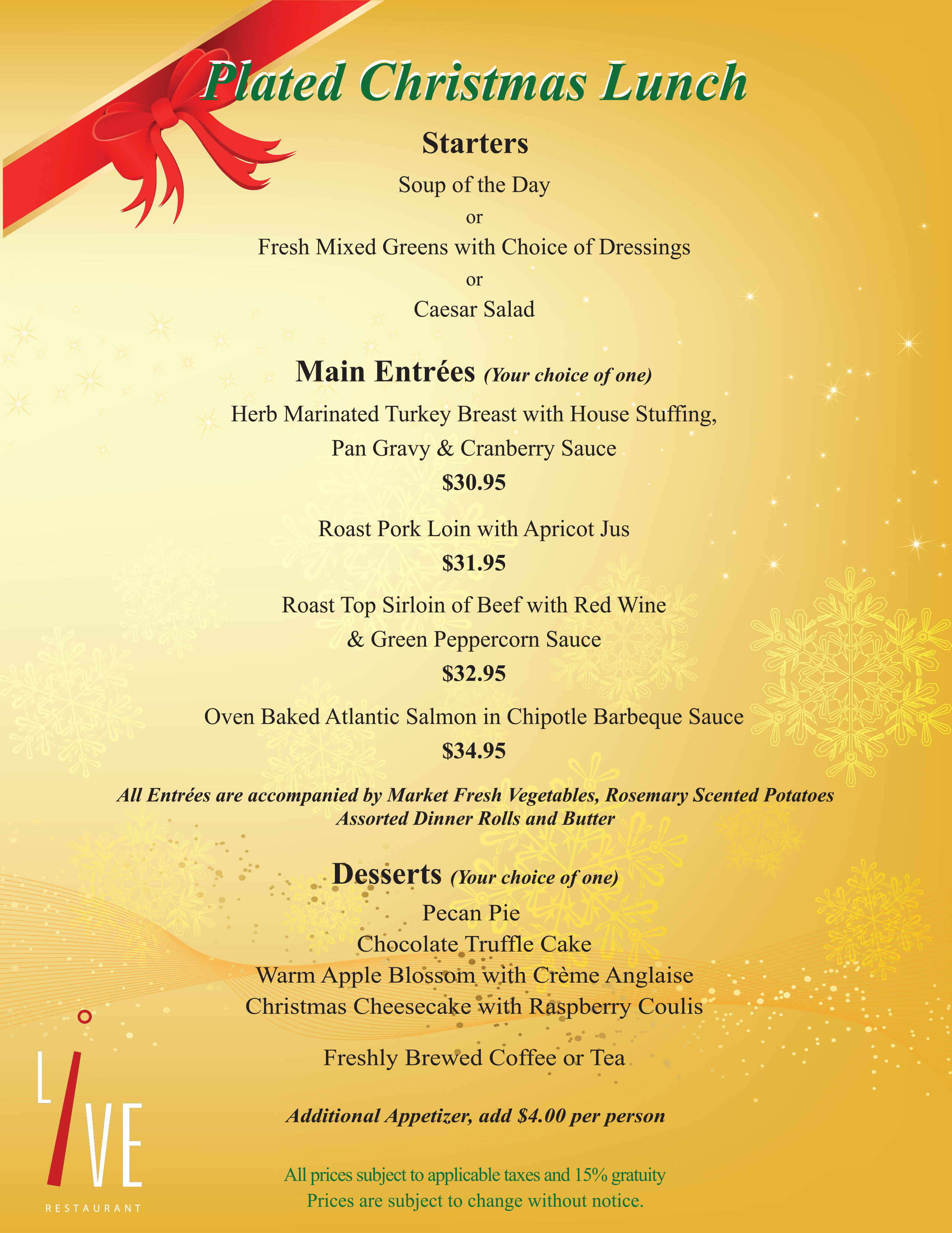 Download the plated christmas luncheon menu