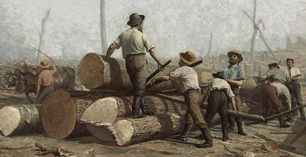 George A. Reid, Logging (detail), 1888