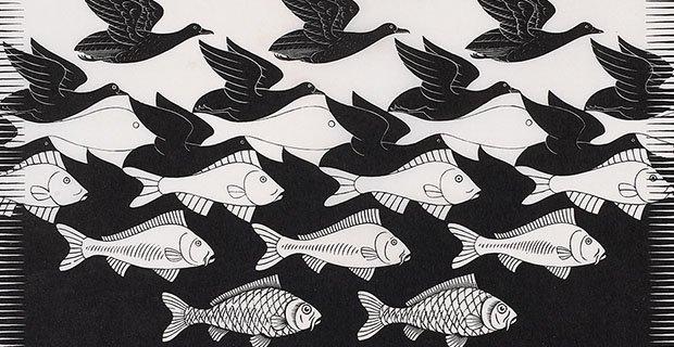M.C. Escher, Sky and Water I (detail), June 1938