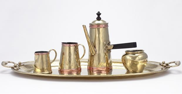 Paul Beau (1871–1949), Coffee Service (c. 1910), brass, copper and ebonized wood. NGC (40982.1–5)