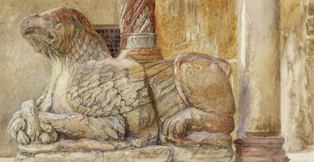 John Ruskin,The Gryphon Bearing the North Shaft of the West Entrance of the Duomo, Verona (detail), 1869