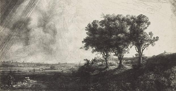 Rembrandt van Rijn, Les trois arbres (d&#233;tail) [1643]