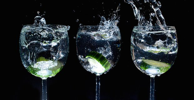 water, cucumber, wine glasses