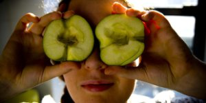 woman, apple, eyes