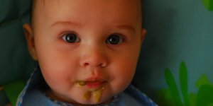baby, baby food on face