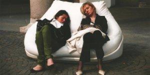 women, exhausted, sleeping
