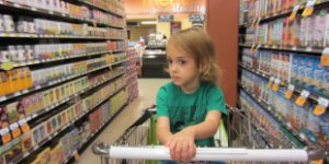 child, shopping cart