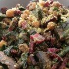 Warm Cheesy Chickpea Pesto Recipe with Beet Greens and Portobello Mushrooms