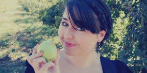 happy woman, apple