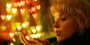 woman, hearts, kiss