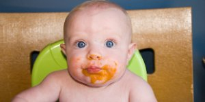 baby, food on face