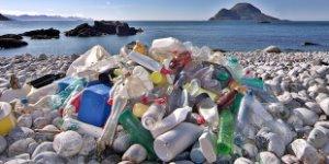 plastic bottles, beach