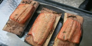 salmon, grilled, wood plank
