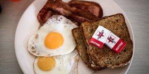eggs, bacon, toast, butter, breakfast