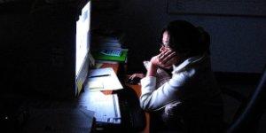 woman, computer, dark