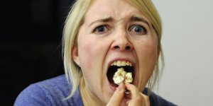 woman, stressed, eating