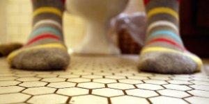 toilet, socks
