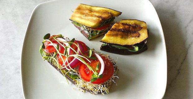 Vegetarian Eggplant Sandwich, Sprouts, Hummus