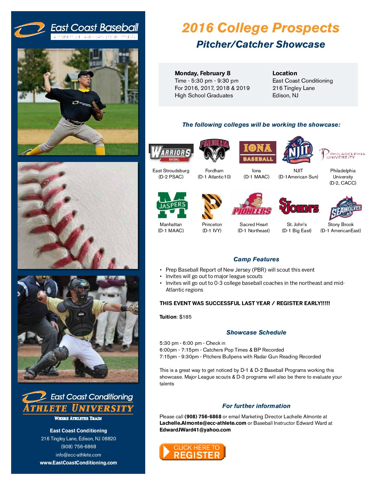 College Prospects Pitcher/Catcher Showcase at East Coast Conditioning