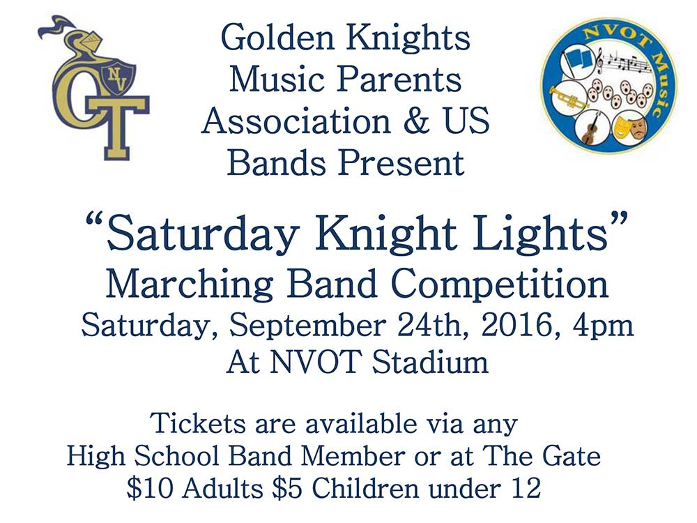 Saturday Knight Lights Marching Band Competition at Northern Valley Regional High School in Old Tappan (NVOT)
