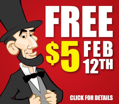 Celebrate Lincoln's Birthday with a $5 game card from iPlay America