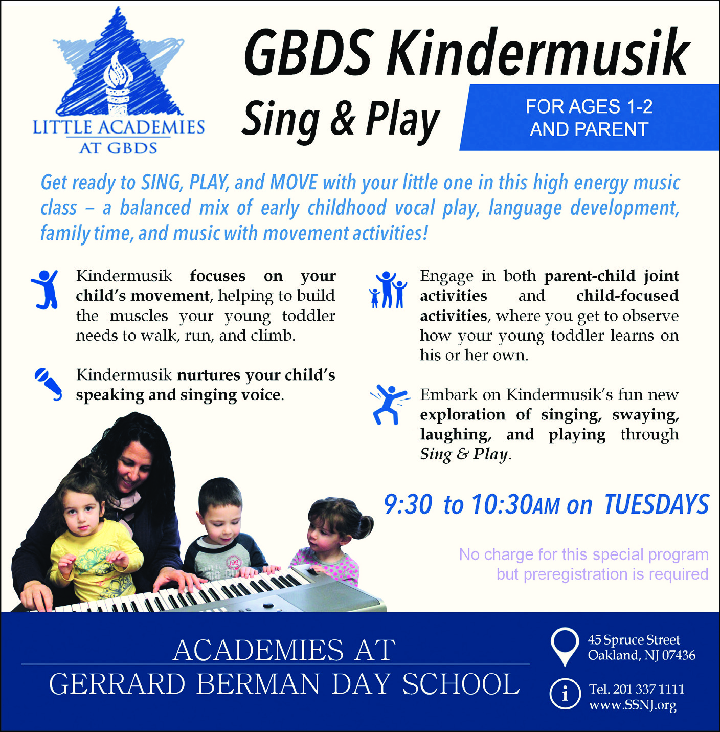 Kindermusik for ages 1-2 years old at Little Academies at Gerrard Berman Day School