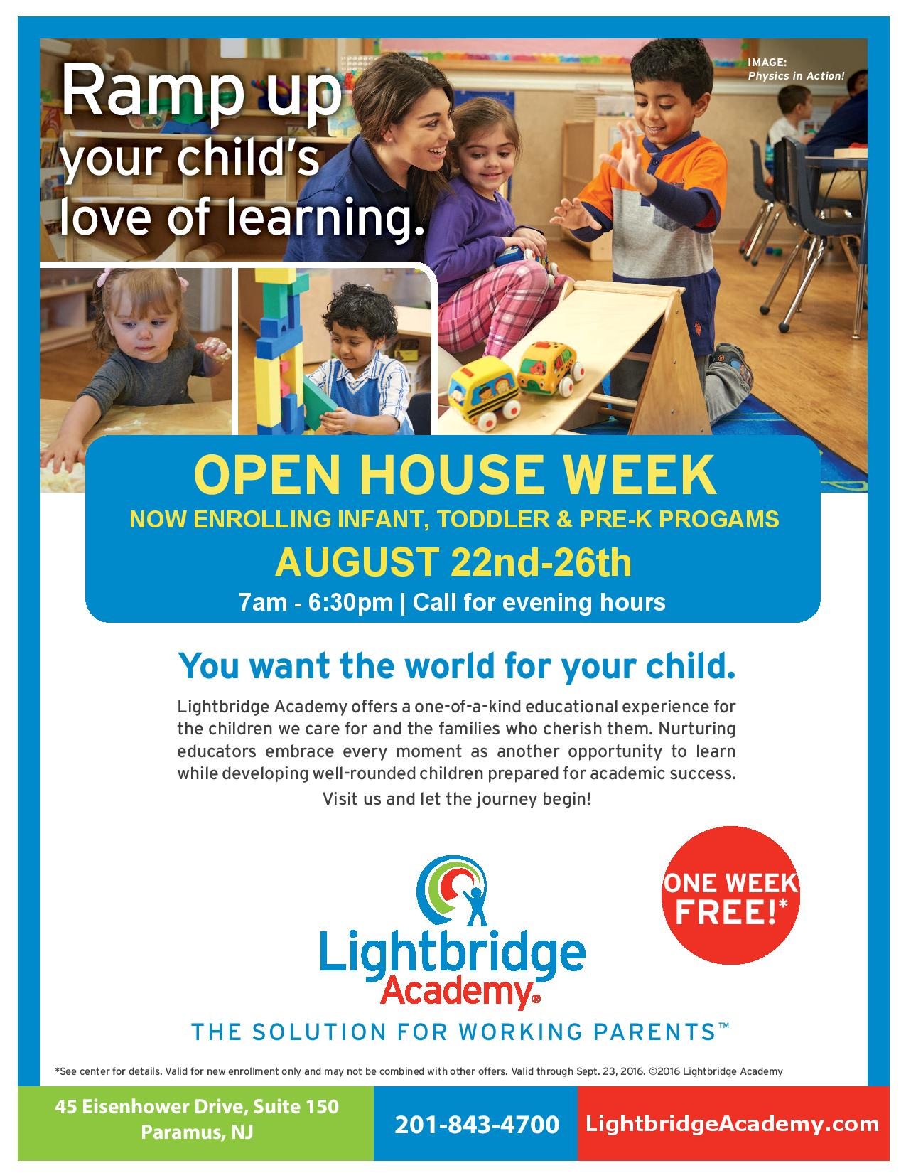 Lightbridge Academy of Paramus Open House Week