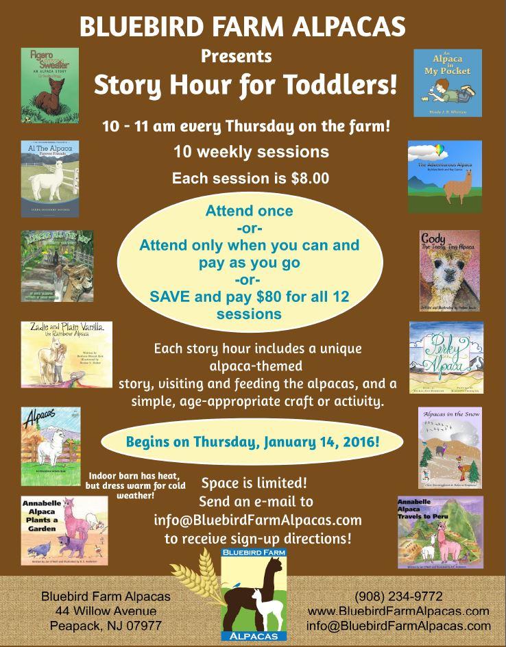 Story Hour at Bluebird Farm Alpacas