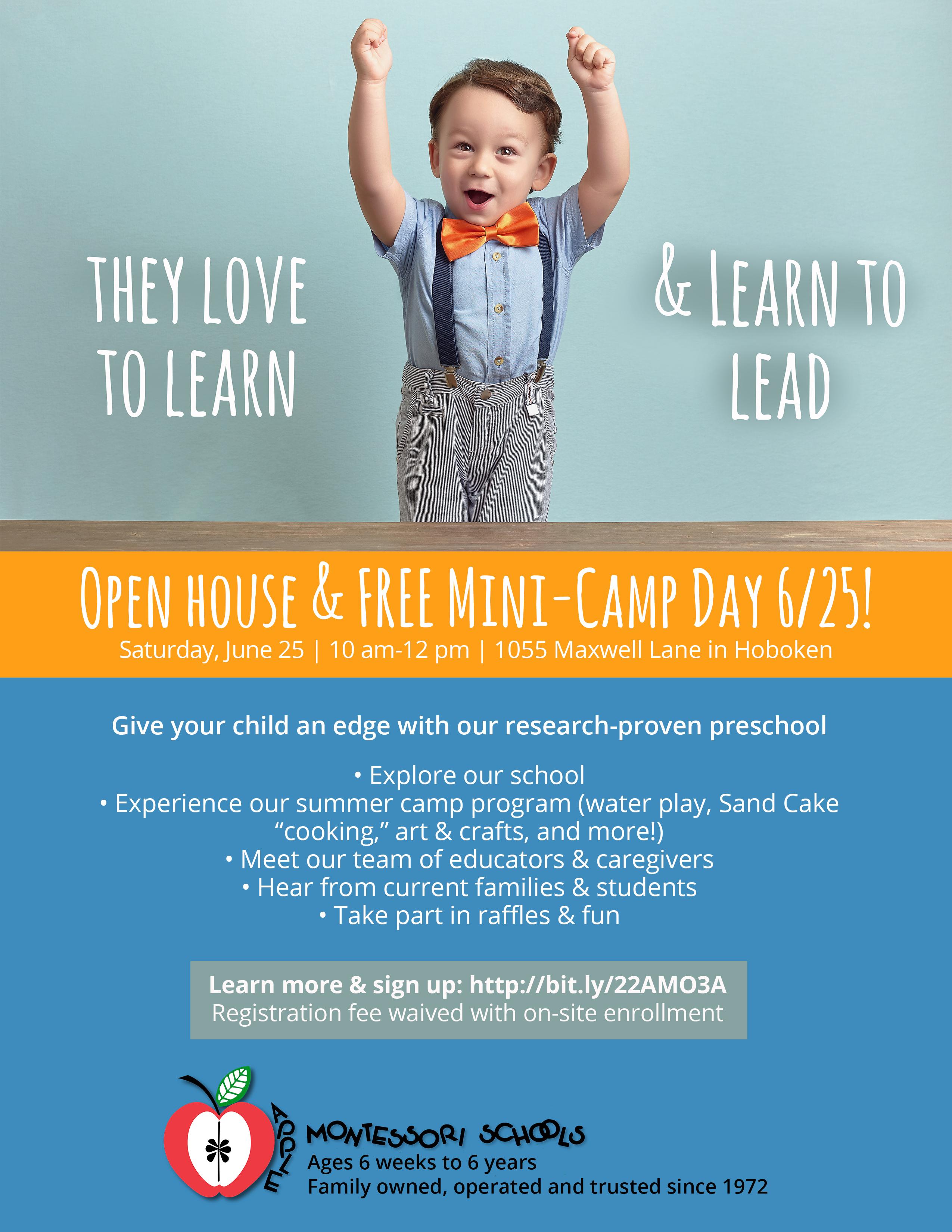 Apple montessori preschool open house amp free mini day camp ages 6