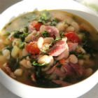 White bean and smoked turkey kale soup