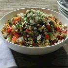 Charred Corn Poblano Salad With Feta