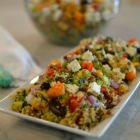 Chopped Greek salad with quinoa and lentils
