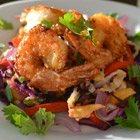 Crispy shrimp with asian coleslaw