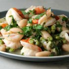 Shrimp Scampi with Peas and White Beans