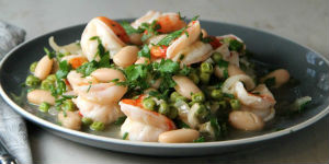 plate of shrimp with greens