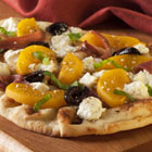 Peach, Goat Cheese and Basil Flatbread Pizza