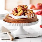 Grilled peach trifle with lemon buttermilk cake
