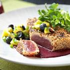 Sesame crusted tuna with blueberry ponzu vinaigrette