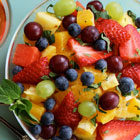 Fruit salad with mint, honey and lime