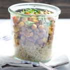 Curried chickpea salad with quinoa in a jar