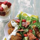 Falafel, Fattoush Salad, and honey roasted strawberries