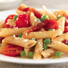 Barilla PLUS® Penne with Pancetta, Grape Tomatoes, Peas, and Romano Cheese